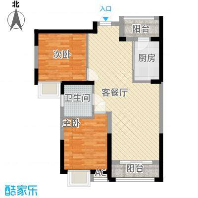 弘建一品88.00㎡弘建一品户型图二期11号楼B户型2室2厅1卫1厨户型2室2厅1卫1厨