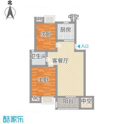 阳湖名城90.00㎡D1型户型2室2厅1卫1厨