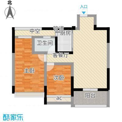 金色领寓89.00㎡4#楼A户型2室2厅1卫1厨