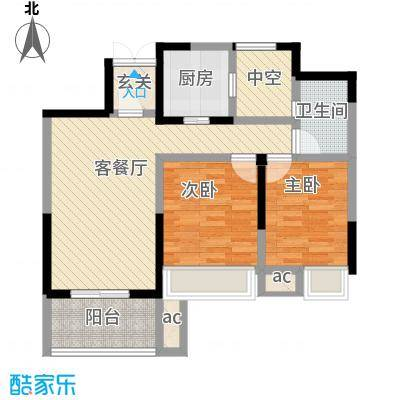 金色领寓87.73㎡A户型2室2厅1卫1厨