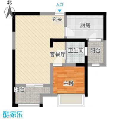 书香院65.79㎡铂领风范户型1室2厅1卫1厨