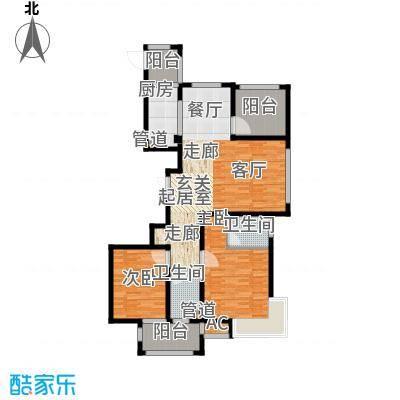 荣盛馨河郦舍123.51㎡荣盛馨河郦舍户型图二期K户型2室2厅2卫1厨户型2室2厅2卫1厨