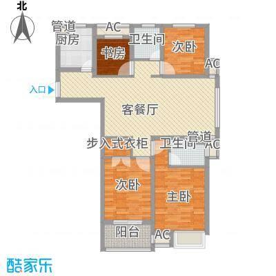 锦海星城二期锦海尚城户型图3#楼、6#楼尚品C2'户型 3室2厅2卫1厨