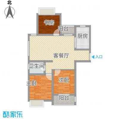 天山花园108.00㎡二期A户型(售罄)户型3室2厅1卫1厨