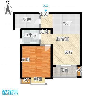 金百国际76.81㎡A2型户型1室2厅1卫1厨