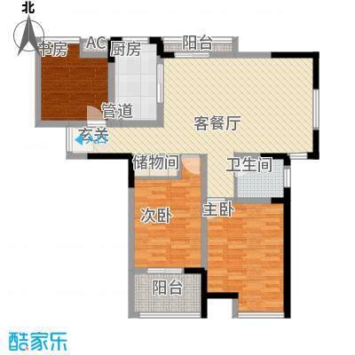 锦海星城澳洲阳光126.48㎡15、16、17#01户型3室2厅1卫1厨