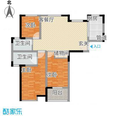 锦海星城澳洲阳光131.59㎡15、16、17#04户型3室2厅1卫1厨