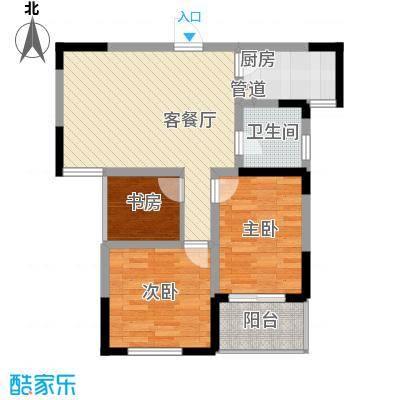 嘉顺花园88.00㎡雍城双星B户型3室2厅1卫1厨