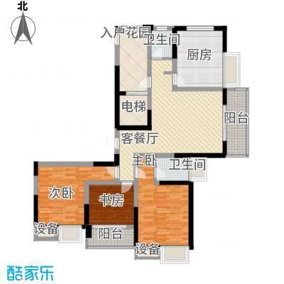 吟枫苑131.00㎡e户型3室2厅2卫1厨