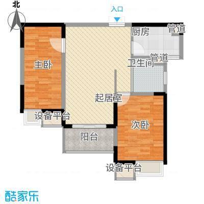 绿洲天逸城89.62㎡高层B户型2室2厅2卫1厨