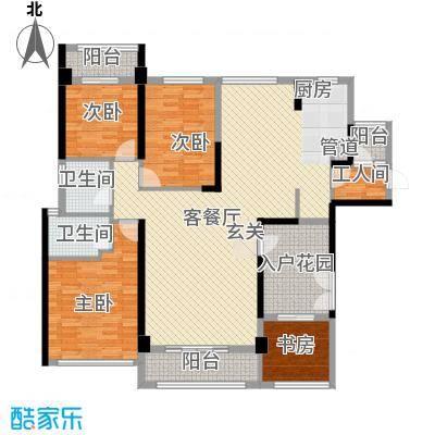 锦绣御园户型图二期5栋E户型 4室2厅2卫1厨