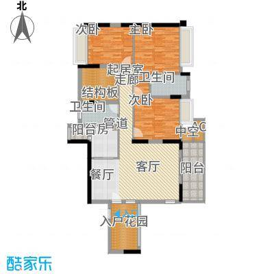 福东龙华府户型图1栋C户型 3室2厅2卫1厨