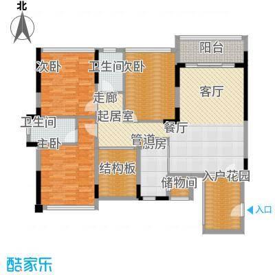 福东龙华府户型图1栋A户型 3室2厅2卫1厨