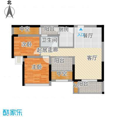 福东龙华府户型图3栋D户型 2室2厅1卫1厨