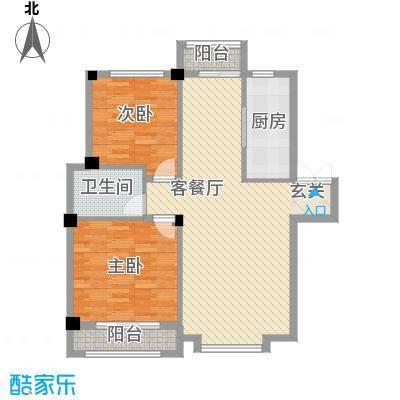 叠彩桃源户型图2室2厅1卫1厨