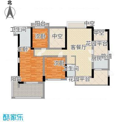 溪山127.70㎡溪山户型图一期12栋A、B单元5-23层奇数层3室2厅2卫1厨户型3室2厅2卫1厨