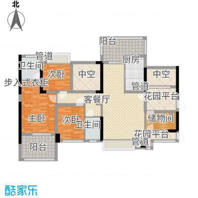 溪山122.80㎡溪山户型图一期11栋A单元5-27层奇数层4室2厅2卫1厨户型4室2厅2卫1厨