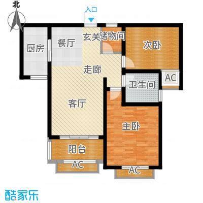 景城名轩88.00㎡A3户型2室2厅1卫1厨