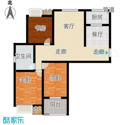 景城名轩116.08㎡A2-04户型3室2厅1卫1厨