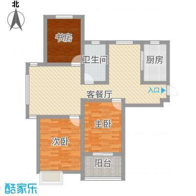 景城名轩116.86㎡A1-04户型3室2厅1卫1厨