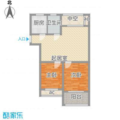 金色湖滨89.16㎡金色湖滨户型图3#楼C户型2室2厅1卫1厨户型2室2厅1卫1厨