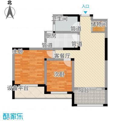 世纪华城二期铂晶湾105.00㎡D1-1莫林户型2室2厅1卫1厨