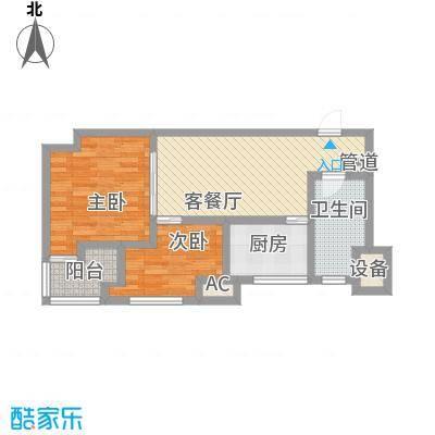 宝隆国际75.90㎡1#楼J户型2室1厅1卫1厨