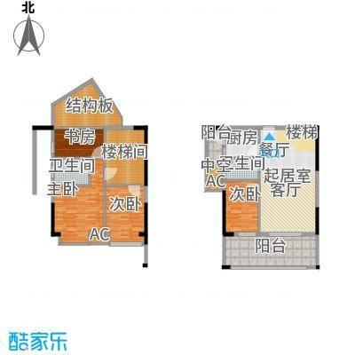 福东龙华府户型图2栋D1C户型 3室2厅2卫1厨