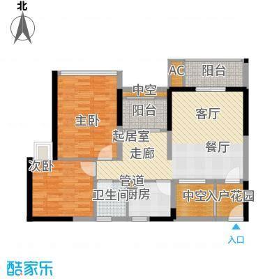 福东龙华府户型图3栋F户型 2室2厅1卫1厨
