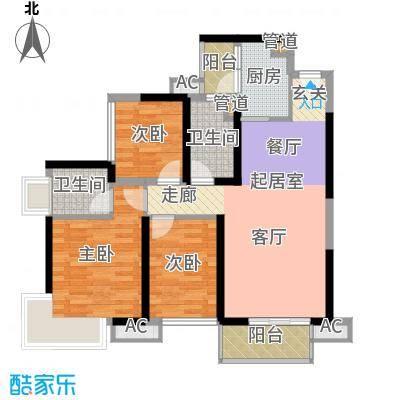 中航天逸户型图A3栋B单元03户型86平三房两厅两卫一厨 3室2厅2卫1厨