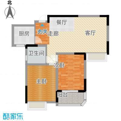 海信・慧园90.00㎡住宅,两室两厅一卫,93平方米户型
