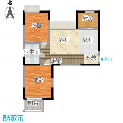 海信・慧园90.00㎡住宅,两室两厅一卫,91平方米户型