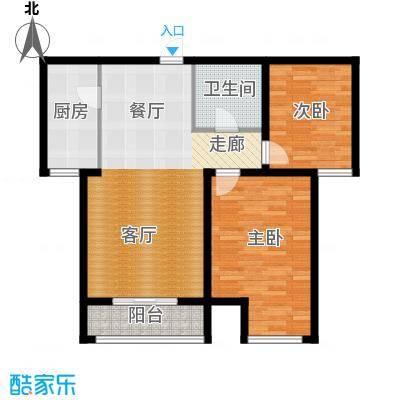 顺平水木清华84.26㎡两室两厅一卫户型2室2厅1卫