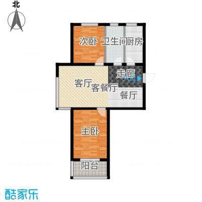 香溪茗苑91.67㎡3-F户型两室两厅一卫户型2室2厅1卫