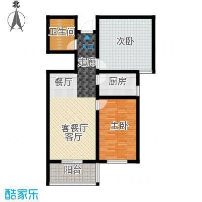 香溪茗苑92.17㎡H 两室两厅一厨一卫户型2室2厅1卫