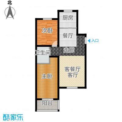 香溪茗苑92.86㎡F 两室两厅一厨一卫户型2室2厅1卫