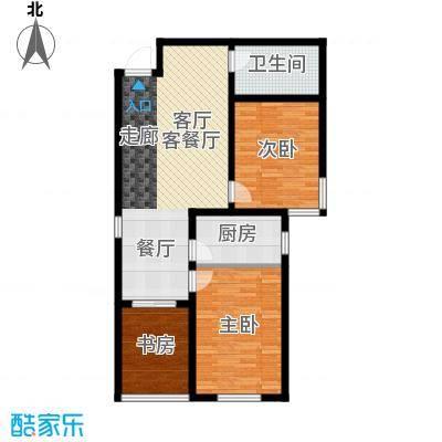 香溪茗苑89.26㎡C 两室两厅一厨一卫户型2室2厅1卫