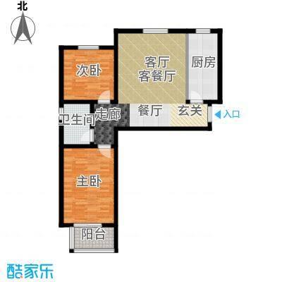 香溪茗苑88.70㎡A 两室一厅一厨一卫户型2室1厅1卫
