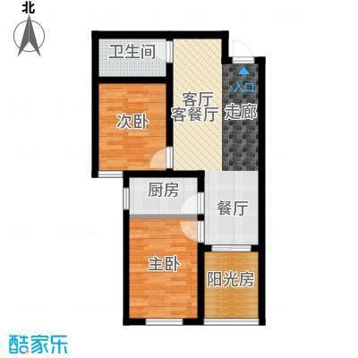 香溪茗苑89.14㎡B 两室两厅一厨一卫户型2室1厅1卫