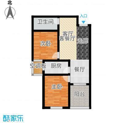 香溪茗苑89.14㎡6#8#B 两室两厅一卫户型2室2厅1卫