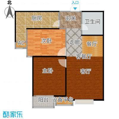 丽景溪城94.79㎡T-两室两厅一卫户型