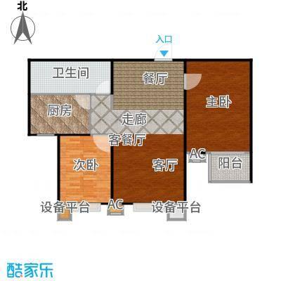 丽景溪城101.03㎡R两室两厅一卫户型