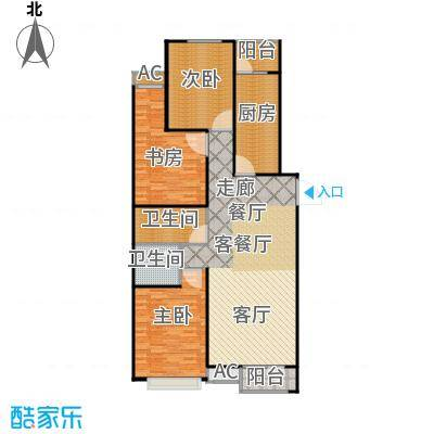 丽景溪城122.48㎡F三室两厅两卫户型