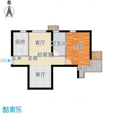 九号国际城64.24㎡C1一室一厅一卫户型