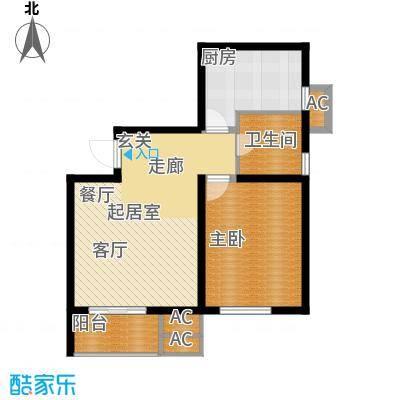 九号国际城69.10㎡G2一室一厅一卫户型