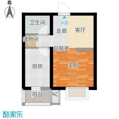水榭花城52.00㎡一室一厅户型