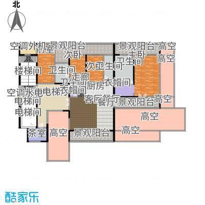 中信・半岛云邸322.00㎡2-E(平层) 三房四卫 建筑面积约:322㎡户型3室2厅4卫