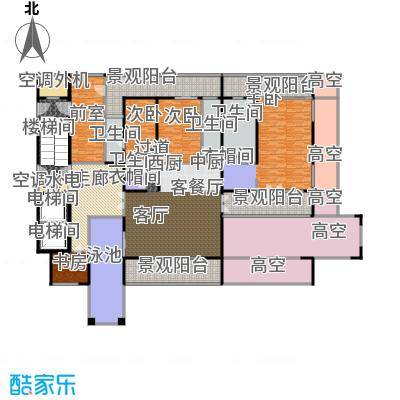 中信・半岛云邸322.00㎡2-E(带泳池) 三房四卫 建筑面积约:322㎡户型3室2厅4卫