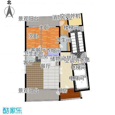 中信・半岛云邸160.00㎡2-C(高厅) 两房两卫 建筑面积约:160㎡户型2室2厅2卫