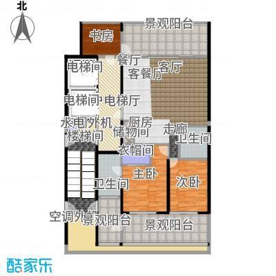中信・半岛云邸159.00㎡2-B 两房两卫 建筑面积约:159㎡户型2室2厅2卫